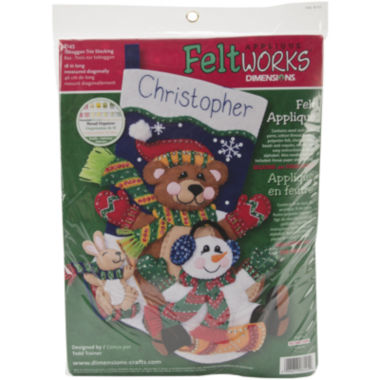 jcpenney.com | Toboggan Trio Stocking Felt Applique Kit