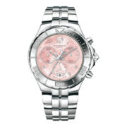 TechnoMarine® Sea Pearl Womens Pink Mother-of-Pearl Silver-Tone Watch