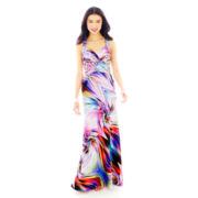 X-Back Airbrush Long Halter Dress