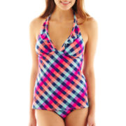Arizona Check Print Halterkini Swim Top - Juniors