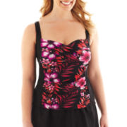 Delta Burke® Cayman Islands Floral Twist-Front Tankini Swim Top - Plus