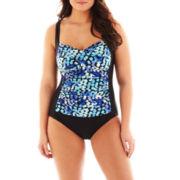 Delta Burke® Spotty Dot Twist-Front Shirred 1-Piece Swimsuit - Plus