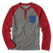 Arizona Raglan-Sleeve Pocket Henley - Boys 6-18