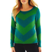 Liz Claiborne Long-Sleeve Chevron Intarsia Sweater