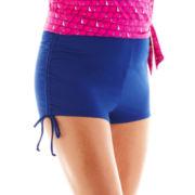 Arizona Solid Hot Pant Swim Bottoms - Juniors Plus