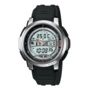 Casio® Forester Mens Thermometer Black Resin Strap Analog/Digital Watch
