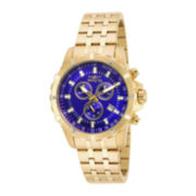 Invicta® Mens Blue Dial Gold-Tone Stainless Steel Chronograph Sport Watch