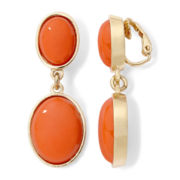 Liz Claiborne® Coral Stone Gold-Tone Double-Drop Clip-On Earrings
