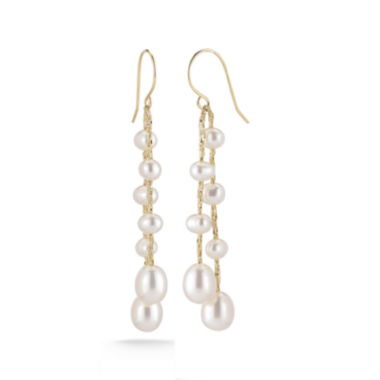 jcpenney.com | Cultured Freshwater Pearl 14K Yellow Gold Over Sterling Silver Drop Earrings