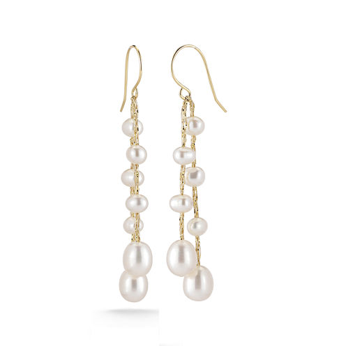 Cultured Freshwater Pearl 14K Yellow Gold Over Sterling Silver Drop Earrings