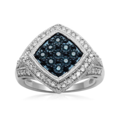 jcpenney.com | 1/2 CT. T.W. White and Color-Enhanced Blue Diamond Sterling Silver Ring