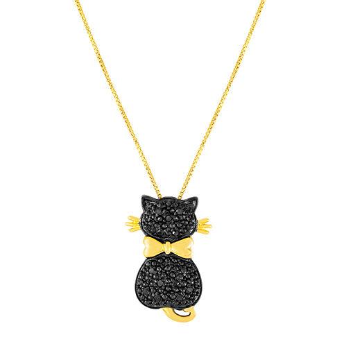 1/10 CT. T.W. Color-Enhanced Black Diamond Cat Pendant Necklace