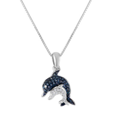 jcpenney.com | 1/10 CT. T.W. Diamond Sterling Silver Dolphin Pendant Necklace
