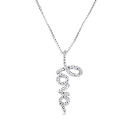 1/10 CT. T.W. Diamond Sterling Silver Love Pendant Necklace