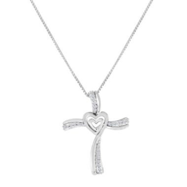 jcpenney.com | ForeverMine® 1/10 CT. T.W. Diamond Sterling Silver Cross Pendant Necklace
