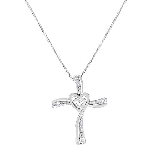 ForeverMine® 1/10 CT. T.W. Diamond Sterling Silver Cross Pendant Necklace
