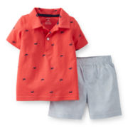Carter's® Short-Sleeve Polo and Striped Shorts Set – Boys 2t-5t