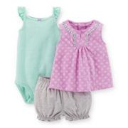 Carter's® Top, Bodysuit and Bubble Shorts Set – Girls newborn-24m