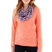 Self Esteem® Long-Sleeve Lace-Panel Sweatshirt with Scarf