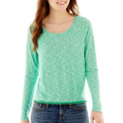 Sugar High Long-Sleeve Pom Pom-Trim Striped Top