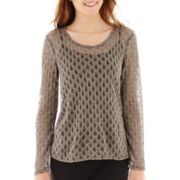 by&by Long-Sleeve Chiffon-Inset Sweater