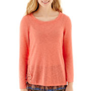 by&by Long-Sleeve Crochet-Inset Sweater