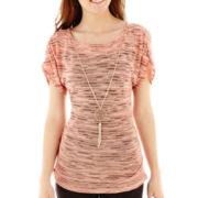by&by Short-Sleeve Space-Dyed Knit Necklace Top
