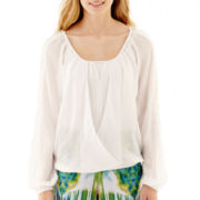 XOXO® Long-Sleeve Gauze Wrap Top