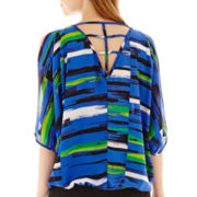 XOXO® 3/4-Sleeve Print Lattice-Back Top