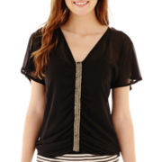 XOXO® Short-Sleeve Gathered Embellished Top