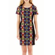 Olsenboye® Short-Sleeve Print Scuba Sheath Dress