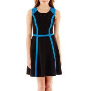 Olsenboye® Sleeveless Colorblock Fit-and-Flare Dress