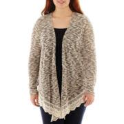 Arizona Long-Sleeve Crochet-Hem Cardigan - Plus