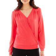 Worthington® Long-Sleeve V-Neck Crossover Top