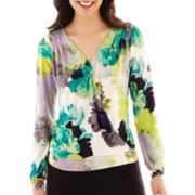 Worthington® Long-Sleeve V-Neck Crossover Top