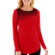 Worthington® Long-Sleeve Flocked Top