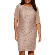 Scarlett Flutter-Sleeve Lace Dress - Plus