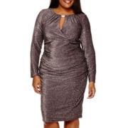 Blu Sage Long-Sleeve Keyhole Glitter Dress - Plus