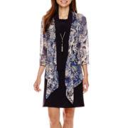 Tiana B. 3/4-Sleeve Chiffon Waterfall Jacket Necklace Dress - Petite