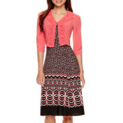 Danny & Nicole® 3/4-Sleeve Ruffled Jacket Dress - Petite