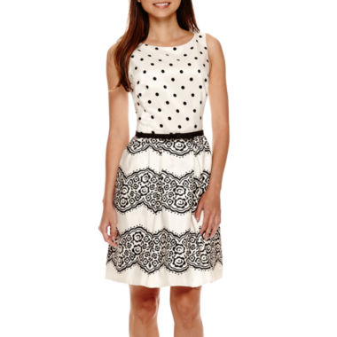 jcpenney.com | Danny & Nicole® Sleeveless Polka Dot Fit-and-Flare Dress - Petite