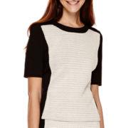 Liz Claiborne® Elbow-Sleeve Colorblock Knit Top - Tall