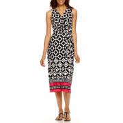 Liz Claiborne® Sleeveless Belted Faux-Wrap Sheath Dress
