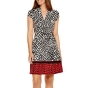 Liz Claiborne® Cap Sleeve Wrap Dress With Border Print