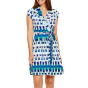 Liz Claiborne® Cap Sleeve Wrap Dress