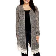 Arizona Long-Sleeve Lace-Hem Duster Cardigan - Juniors Plus