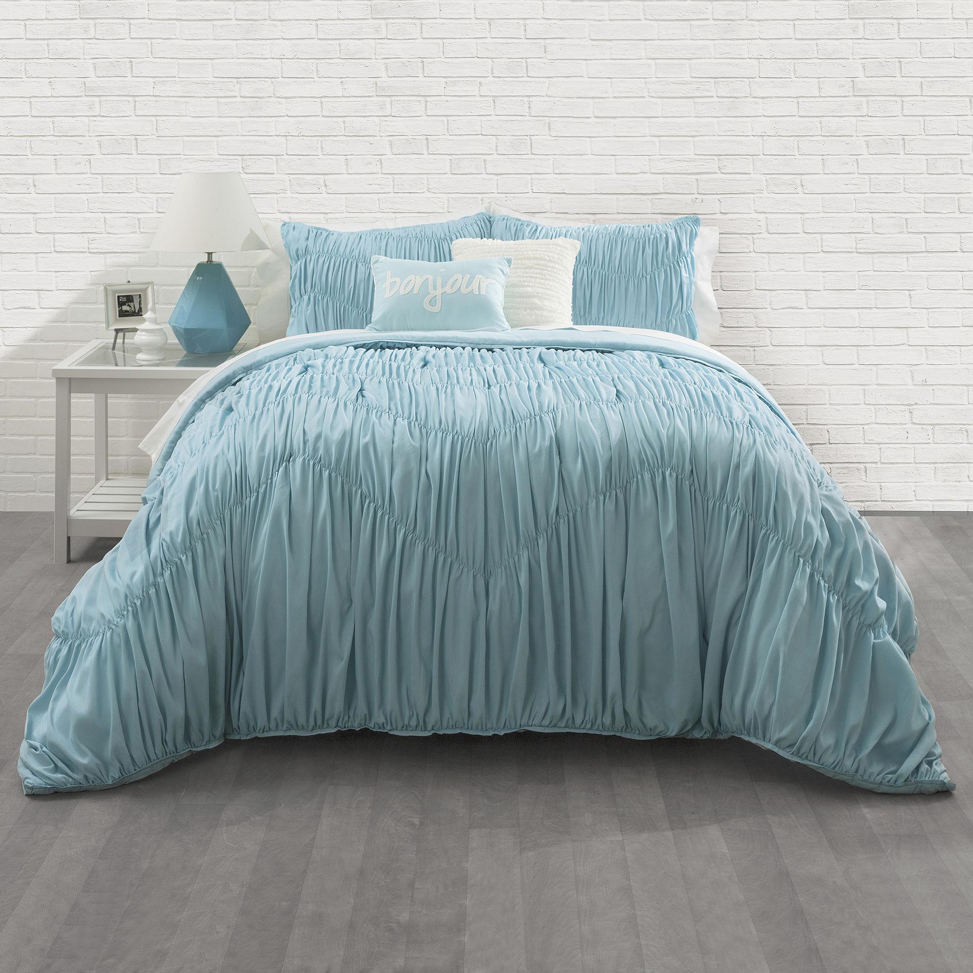 Seventeen Aqua Ruched Comforter Set