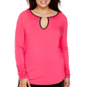 Bisou Bisou® Shirred Long Sleeve T-Shirt - Plus