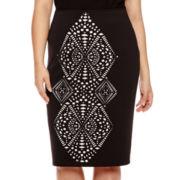Bisou Bisou® High Waist Laser Cut Scuba Skirt - Plus