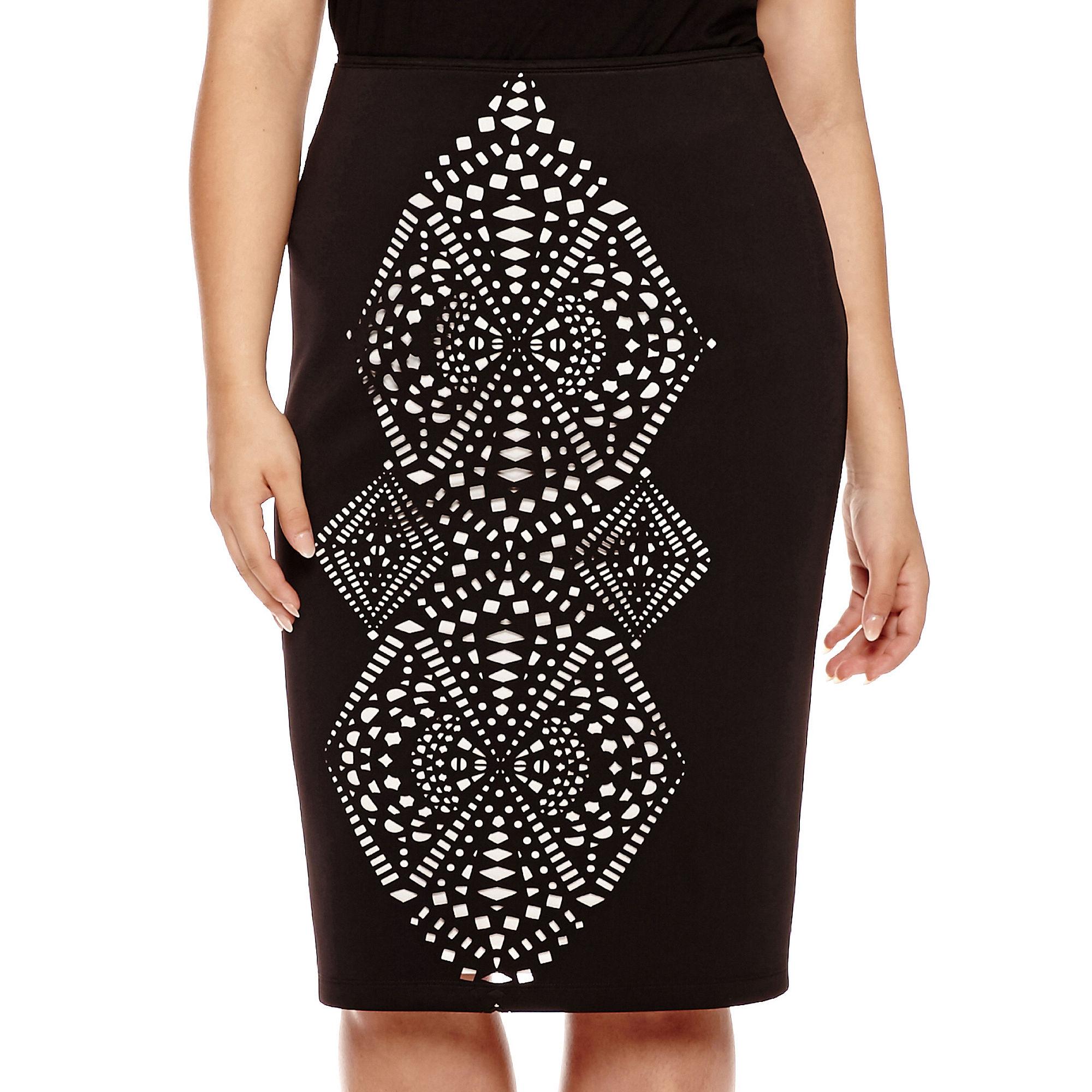 Bisou Bisou High Waist Laser Cut Scuba Skirt - Plus